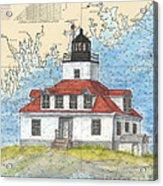 Egg Rock Lighthouse Me Nautical Chart Map Art Acrylic Print