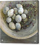 Eggs In A Wooden Bowl Acrylic Print