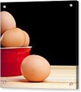 Eggs On Bench Acrylic Print