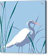 abstract Egret graphic pop art nouveau 1980s stylized retro tropical florida bird print blue gray  Acrylic Print