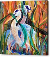 Egrets In Red 2            Acrylic Print