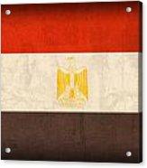 Egypt Flag Distressed Vintage Finish Acrylic Print