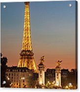 Eiffel At Twilight Acrylic Print