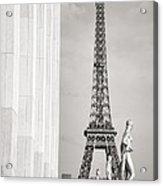 Eiffel Tour Paris Black And White Acrylic Print