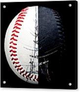 Eiffel Tower Baseball Square Acrylic Print