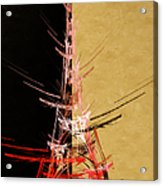 Eiffel Tower In Red On Gold  Abstract  Acrylic Print