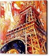 Eiffel Tower In Red Acrylic Print