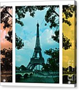 Eiffel Tower Paris France Trio Acrylic Print