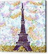 Eiffel Tower Pointillism Acrylic Print