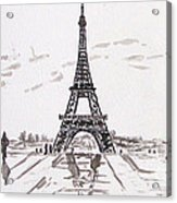 Eiffel Tower Rainy Day Acrylic Print by Kevin Croitz