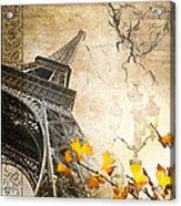 Eiffel Tower Vintage Collage Acrylic Print