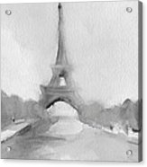 Eiffel Tower Watercolor Painting - Black And White Acrylic Print