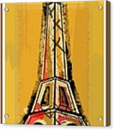 Eiffel Tower Yellow Black And Red Acrylic Print