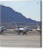 Eight F-16 Thunderbird Falcon's On Static Display Nellis Acrylic Print