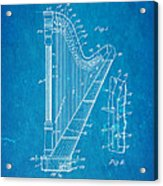 Ekman Harp Patent Art 1905 Blueprint Acrylic Print