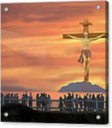 El Faro Christ Sunset Photo Illustration Acrylic Print