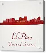 El Paso Skyline In Red Acrylic Print