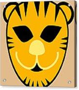 El Tigre Luchador Orange Black Beige Acrylic Print