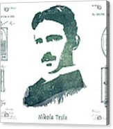 Electric Arc Lamp Patent Art Nikola Tesla Acrylic Print