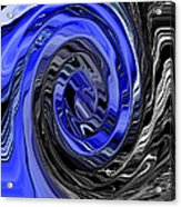 Electric Blue Wound Into Black And White Abstract Acrylic Print