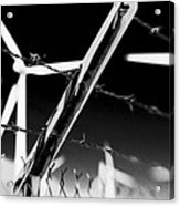Electric Fence Black And White Acrylic Print