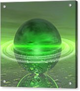 Electronic Green Saturn Acrylic Print