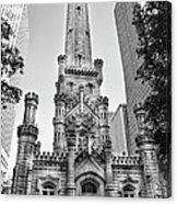 Elegant Old Water Tower In Black And White Acrylic Print