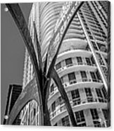 Element Of Duenos Do Los Estrellas Statue With Miami Downtown In Background - Black And White Acrylic Print by Ian Monk