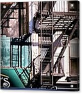 Elemental City - Fire Escape Graffiti Brownstone Acrylic Print
