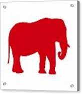 Elephant In Red And White Acrylic Print