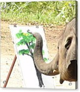 Elephant Charlie Paints The Tree Of Life Acrylic Print