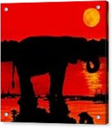 Elephant Silhouette African Sunset Acrylic Print