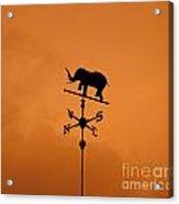 Elephant Weathervane Sunset Acrylic Print