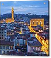 Elevated Night View Of Central Florence Acrylic Print