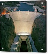 Elevated View At Dusk Of Hoover Dam Acrylic Print