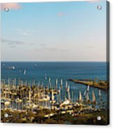 Elevated View Of Boats At A Harbor Acrylic Print