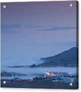 Elevated View Of Town Covered With Fog Acrylic Print