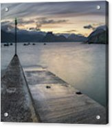 Elgol Pier And Boats With Cuillin Acrylic Print