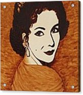 Elizabeth Taylor Original Coffee Painting On Paper Acrylic Print