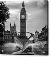Elizabeth Tower Black And White Acrylic Print