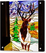 Elk Stained Glass Window Acrylic Print