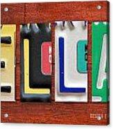 Ella License Plate Name Sign Fun Kid Room Decor. Acrylic Print