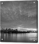 Ellis Island And Manhattan Sunrise Bw Acrylic Print