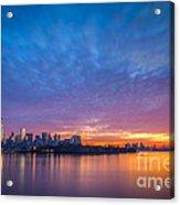 Ellis Island And Manhattan Sunrise Acrylic Print