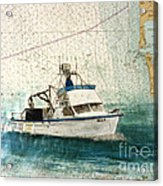 Elly Crab Fishing Boat Nautical Chart Map Art Acrylic Print