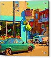 Elses Pub Cafe Plateau Montreal Corner Roy And De Bullion City Scene Art Of Montreal Carole Spandau Acrylic Print
