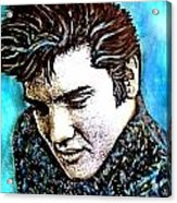 Elvis Presley Never Left The Building Alcohol Inks Acrylic Print