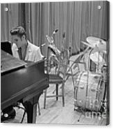 Elvis Presley On Piano Waiting For A Show To Start 1956 Acrylic Print
