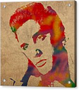 Elvis Presley Watercolor Portrait On Worn Distressed Canvas Acrylic Print