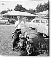 Elvis Presley With His 1956 Harley Kh Acrylic Print